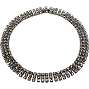 Vintage Pronged Rhinestone Three Row Bling Choker Necklace