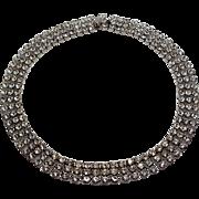 Vintage Pronged Rhinestone Three Row Bling Choker Necklace