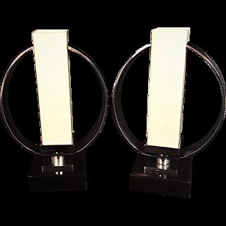 Art Deco Chrome Split Arch Square Glass Boudoir Light Modernist Lamps With Wooden Base MCM Mid Century Modern