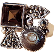 Sterling Silver .925 Modernist Square Ring With Smokey Quartz, Marcasite, and Abalone