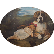 St. Bernard Protector With Sleeping Girl And Black Cat Folk Art Painting Oil on Canvas applied to Board