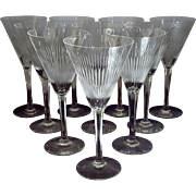 Mid Century Starburst Cut Crystal Stemware Martini Wine Water Glasses Goblets Champagne flutes Set of 6