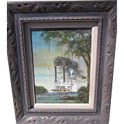 Vintage Steamboat Painting-signed E W