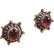 Sterling Silver Nautical Garnet Ship Wheel Post Earrings