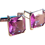 Sterling Silver Purple Amethyst Glass Large Cufflink Cufflinks