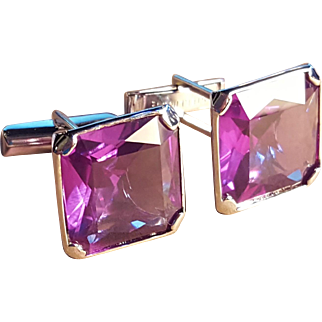 Sterling Silver Purple Amethyst Glass Large Cufflink Cufflinks