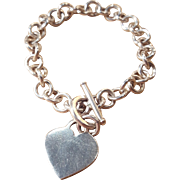 Sterling Silver Tiffany-Style Heart Charm Bracelet Starter Chainlink Band