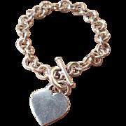 Sterling Silver Tiffany-Style Heart Charm Bracelet Starter Chainlink Band