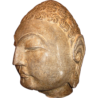 "Large Hand Carved Stone Buddha Head 12"" tall, 38+ lbs."