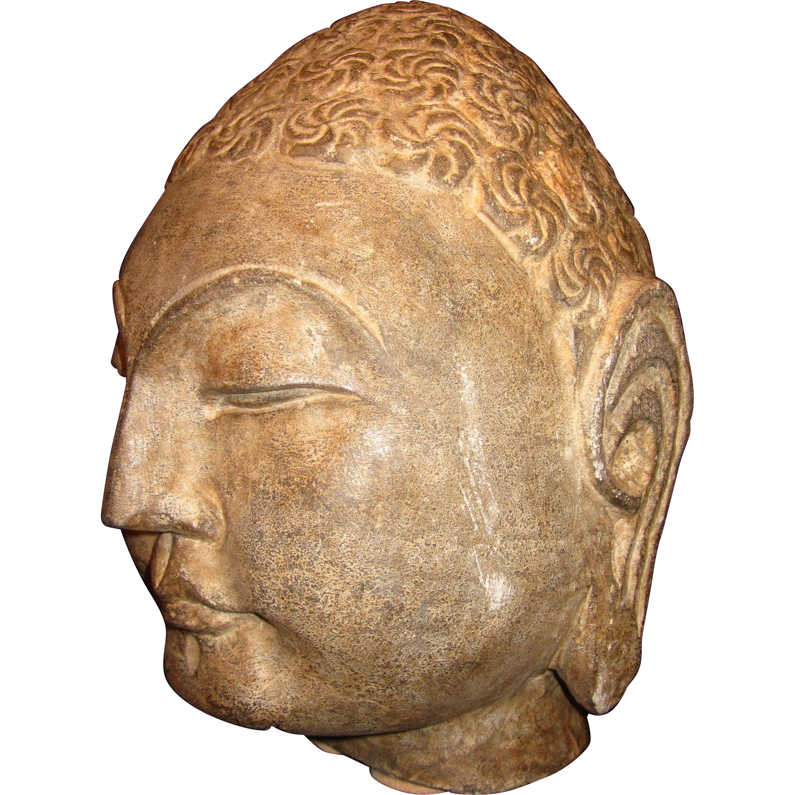 "Large Hand Carved Stone Buddha Head 12"" tall, 38+ lbs."