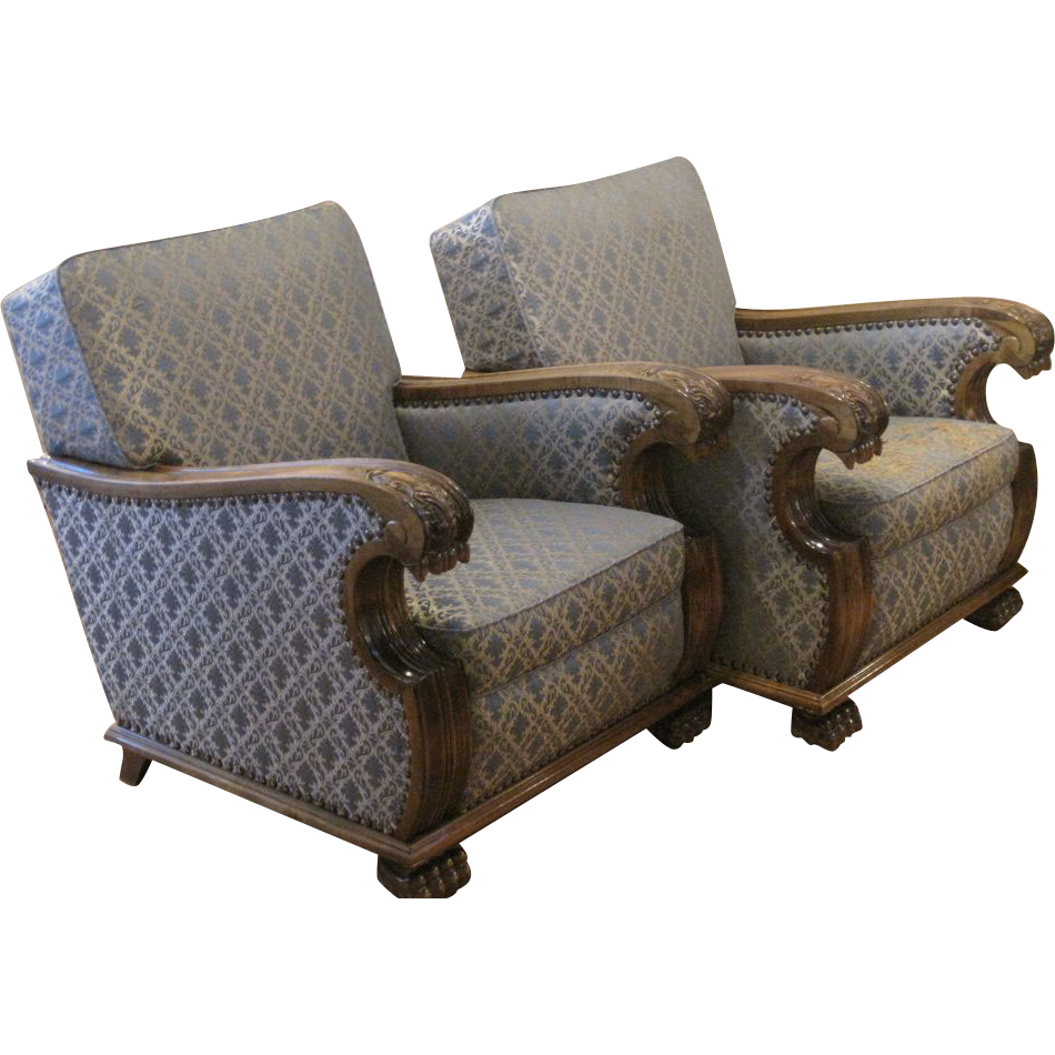 Pair of Swedish Art Deco Neo-Gothic Club Chairs