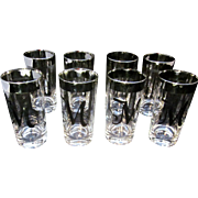 "Vintage Silver Rimmed and Silver ""M"" Monogrammed Dorthy Thorpe Set of 8 Highball Glasses"
