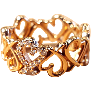 Tiffany Loving Heart Band Diamond Ring 18k Rose Gold By Paloma Picasso Size 5