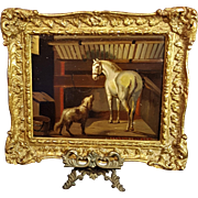 19th Century Oil Painting On Tin Of A Dog And Horse In A Stable