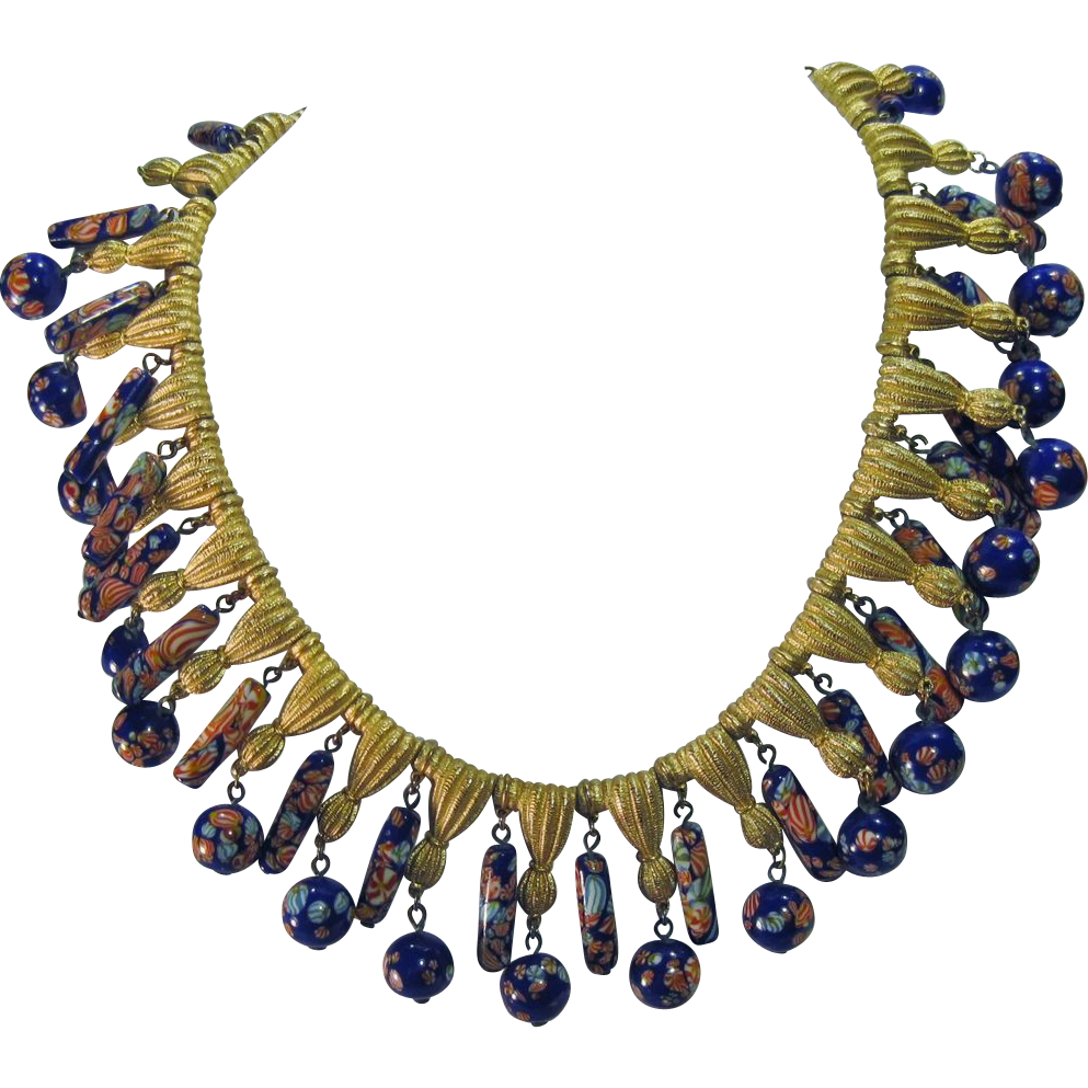 Vintage Trifari Murano Millefiore Millefiori Glass beaded Necklace with Brass Tassels