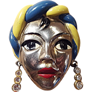 Vintage Gypsy Turban Lady Silver Plate Enameled Painted Face Fur or Dress Clip Pin