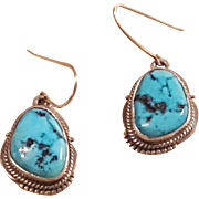 Navajo Melton Lee Native American Sterling Silver Turquoise Dangle Earrings