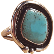 Vintage Navajo Sterling Silver Turquoise Ring 8  Native American Jewelry