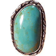 Sterling Silver Large Turquoise Stone Statement Cocktail Polished Stone Ring Size 10.5