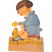Vintage Mechanical Valentine Girl with Blocks Googly eyes
