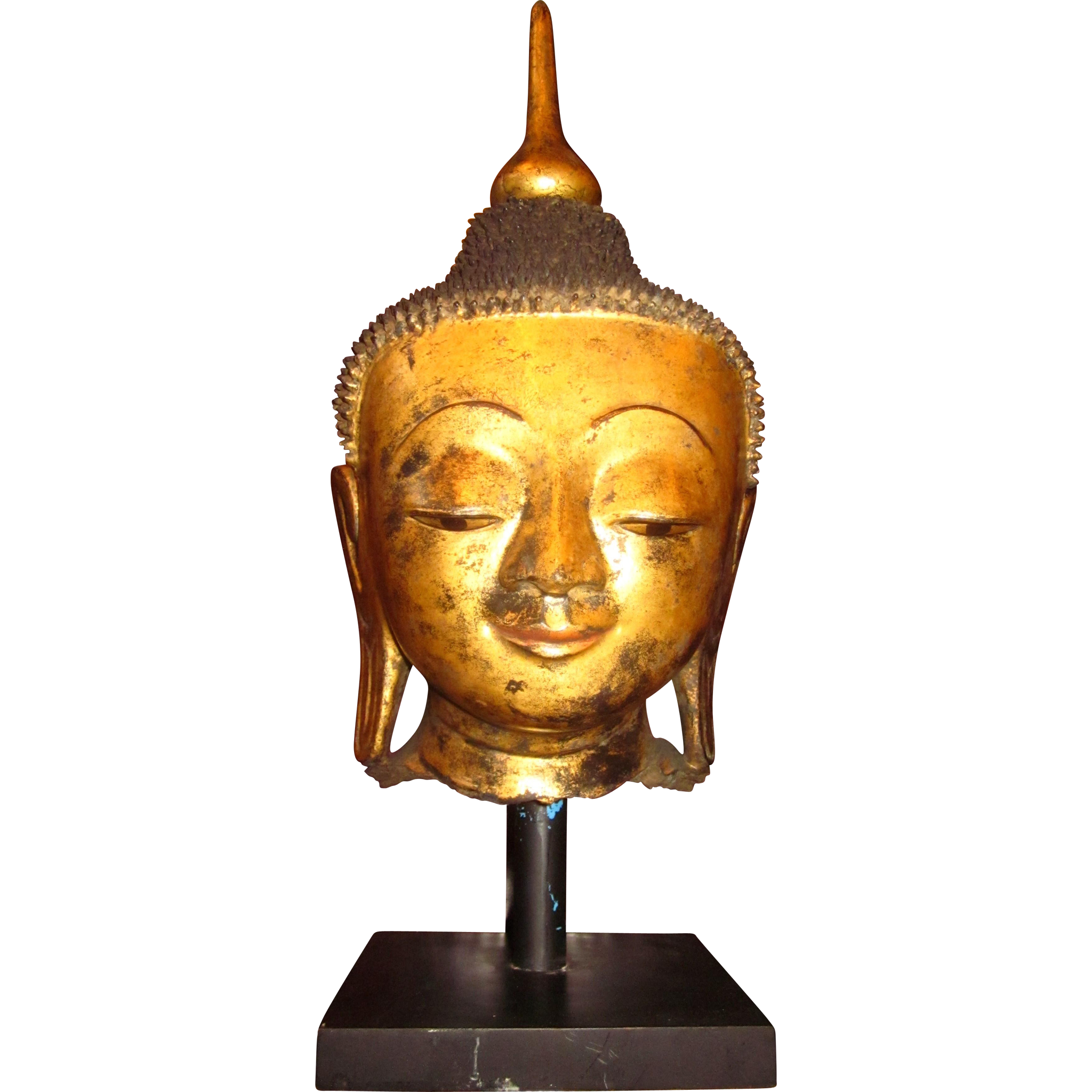 Antique Burmese Shan State Gilded Dry Laquered Buddha Head with Stand