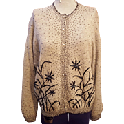 Vintage Heather Grey Seed and Bugle Bead Cardigan Sweater With Faux Pearl Buttons and Silk Lining Size Medium