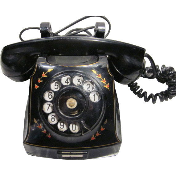 Vintage 1940's Swedish Telegrafverket Rotary Phone with Floral Accents