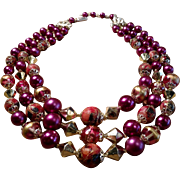 Vintage triple multi strand necklace fuchsia pink purple mirrored beads and painted beads