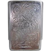 Vintage Park Industries Aluminum Cigarette Case, Flower and Foliage Design
