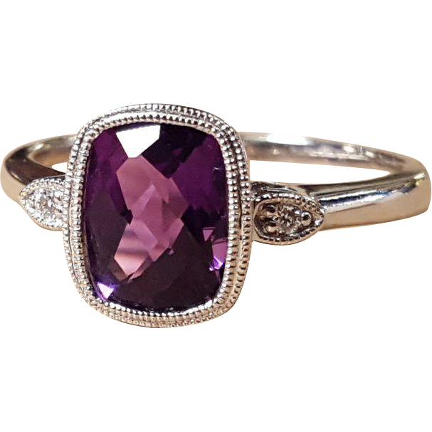 14K White Gold Amethyst And Diamonds Size 6 3/4ths