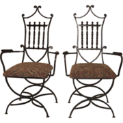 Pair of Wrought Iron Chairs with Upholstered Seat and Wooden Arm Rests