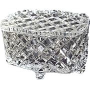 Diamond-Cut Clear Glass Footed Jewelry or Trinket Box