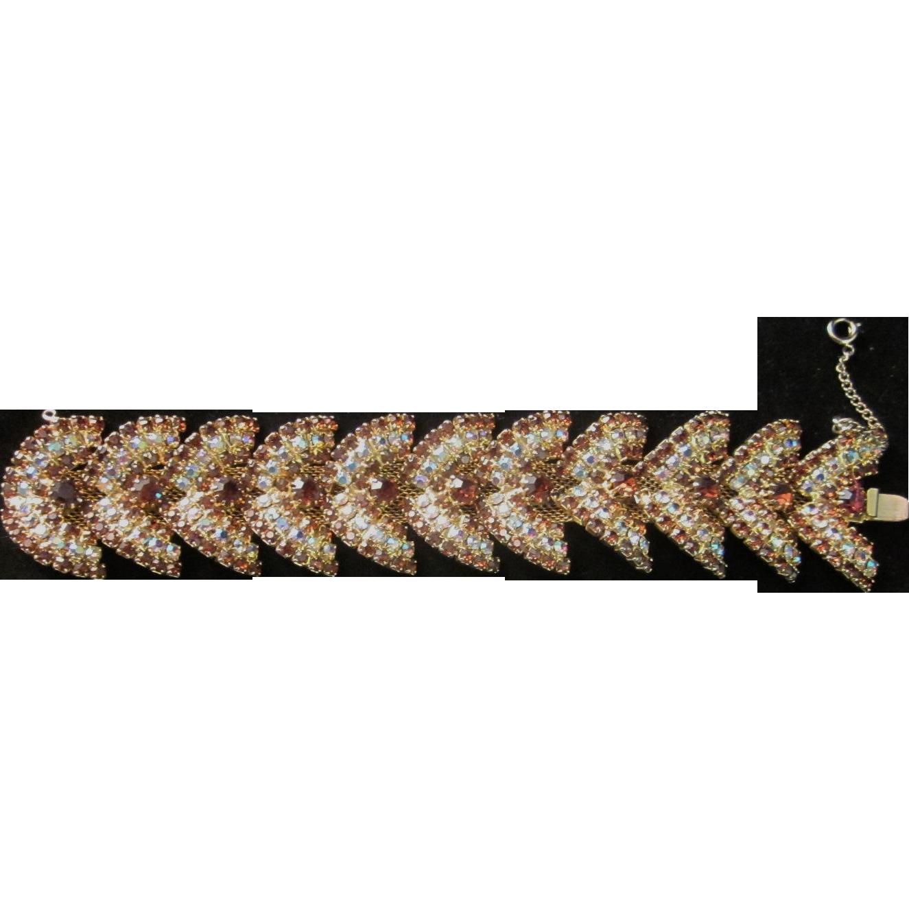 Vintage Rootbeer and Aurora Borealis  Rhinestone Chevron or Butterfly Bracelet Bracelet