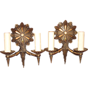 Original Art Deco Bronze Wall Sconces Pair