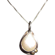 Vintage Artisan Sterling and fresh water Teardrop Pearl Pendant Necklace signed by Skiera