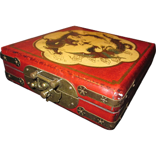 Vintage Asian Laquered Dragon Jewelry Box