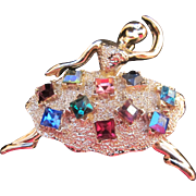Vintage Ballerina/Dancing Lady Brooch/Pin Silver Tone with Square colored rhinestones