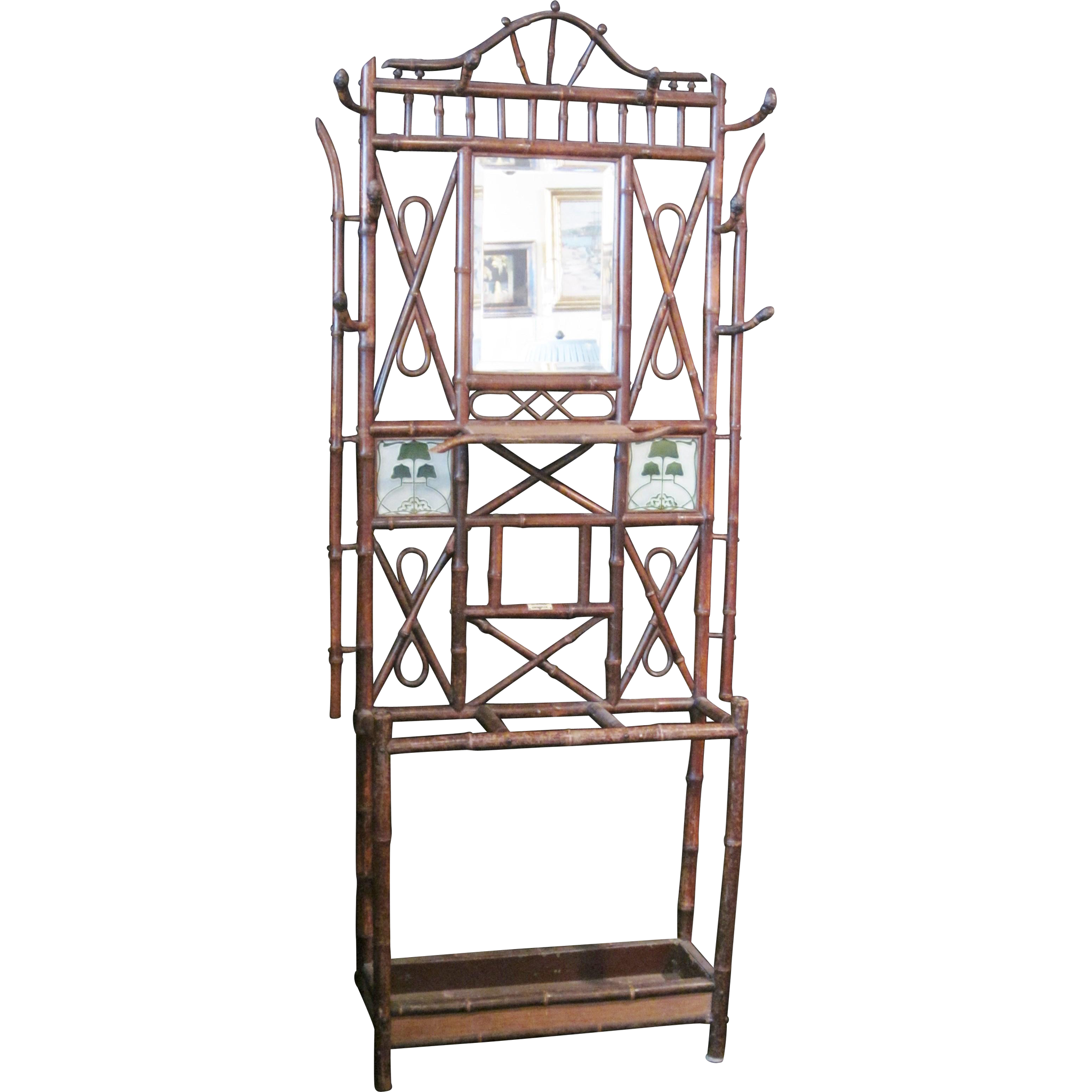 Sold! Antique Art Nouveau 19th C. Bamboo and Chinoiserie Hall Tree