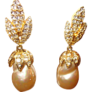 Vintage Gold tone Dangle and Drop Faux Baroque Pearl and Rhinestone clip on Earrings-Bridal Earrings