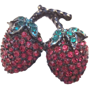 Art Deco double strawberry brooch