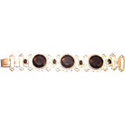 Vintage Panel Bracelet with Black Cabochons & simulated Pearls