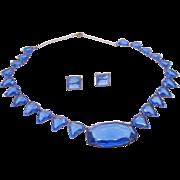 Art Deco Blue Czech Glass Demi Parure Necklace and earring set