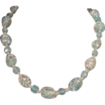 Vintage Robins Egg Blue Glass Blown Strand of Beads