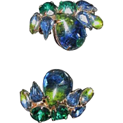 Vintage Weiss Blue and Green Rhinestone Earrings signed