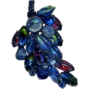 Stunning Blue, Red and Green Rhinestone, poured glass, givre glass, moonstone, Rhinestone  Leaf Brooch