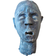 "Blue Man ""Death Mask"" Face Clay Sculpture Wall Art"