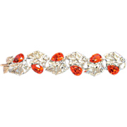 Vintage Bracelet Huge Glowing Orange Rhinestones and Leaves