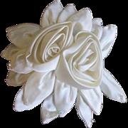 Vintage Bridal Headpiece/Comb Satin Roses with Aurora Borealis Rhinestone Beads