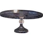 Vintage Molded and Frosted Glass Floral  Pedestal Cake Platter Cake stand