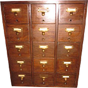 Antique Oak 15 Drawer Library Bureau Sole Makers Card Catalog Vintage Office File Cabinet